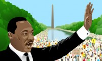 Dr. Martin Luther King, Jr., at the Lincoln Memorial