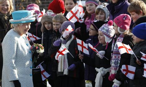 Queen Elizabeth II visits schoolchildren in Norfolk, England