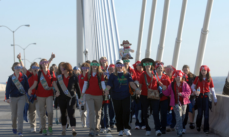 Girl Scouts cross the Talmadge Bridge