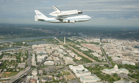 Space Shuttle Discovery Over Washington, D.C.