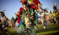 A young powwow dancer