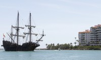 Replica of Spanish ship near the port of Miami