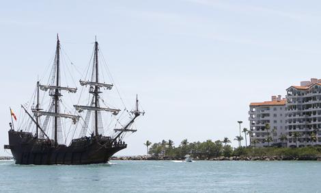 Replica of Spanish ship near the port of Miami