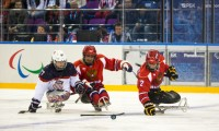 USA vs. Russia in sled hockey