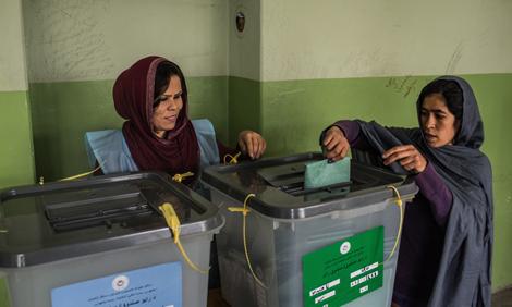 Women voting in Kabul, Afghanistan