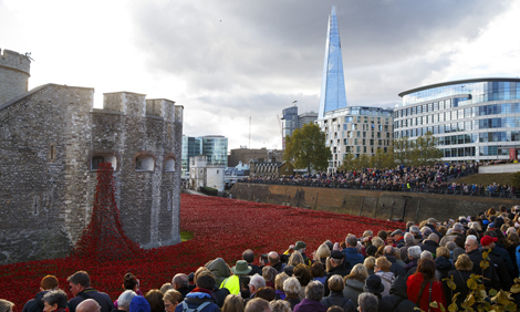 Poppy display at Tower of London