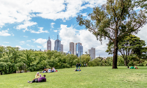 Kings Domain parklands in Melbourne, Australia