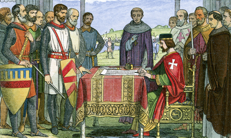 King John approving the Magna Carta