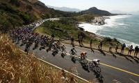 Olympic bicycle race at Grumari Beach in Rio de Janeiro