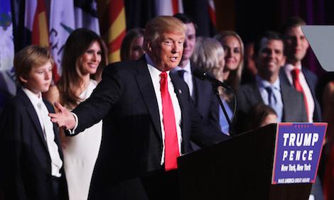 Donald Trump delivering his acceptance speech