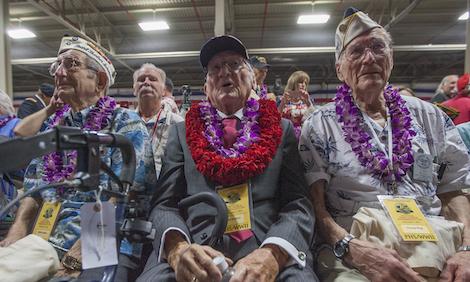 Pearl Harbor survivors—Milton Mapou, Donald Stratton, and Thomas Berg