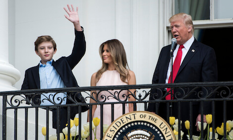 Barron Trump with his parents First Lady Melania Trump and President Donald Trump