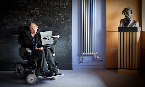 Professor Stephen Hawking in the University of Cambridge