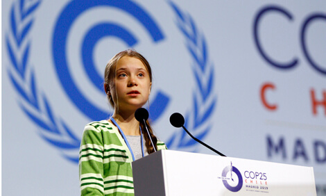 Greta Thunberg speaking at a United Nations climate conference.