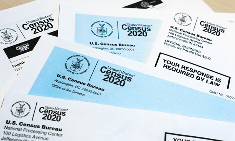 Invitations to complete the U.S. Census sent through the mail.