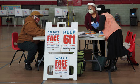 A voting center in Baltimore, Maryland, during a special election in April.