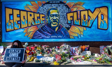 A mural created as a memorial to George Floyd.